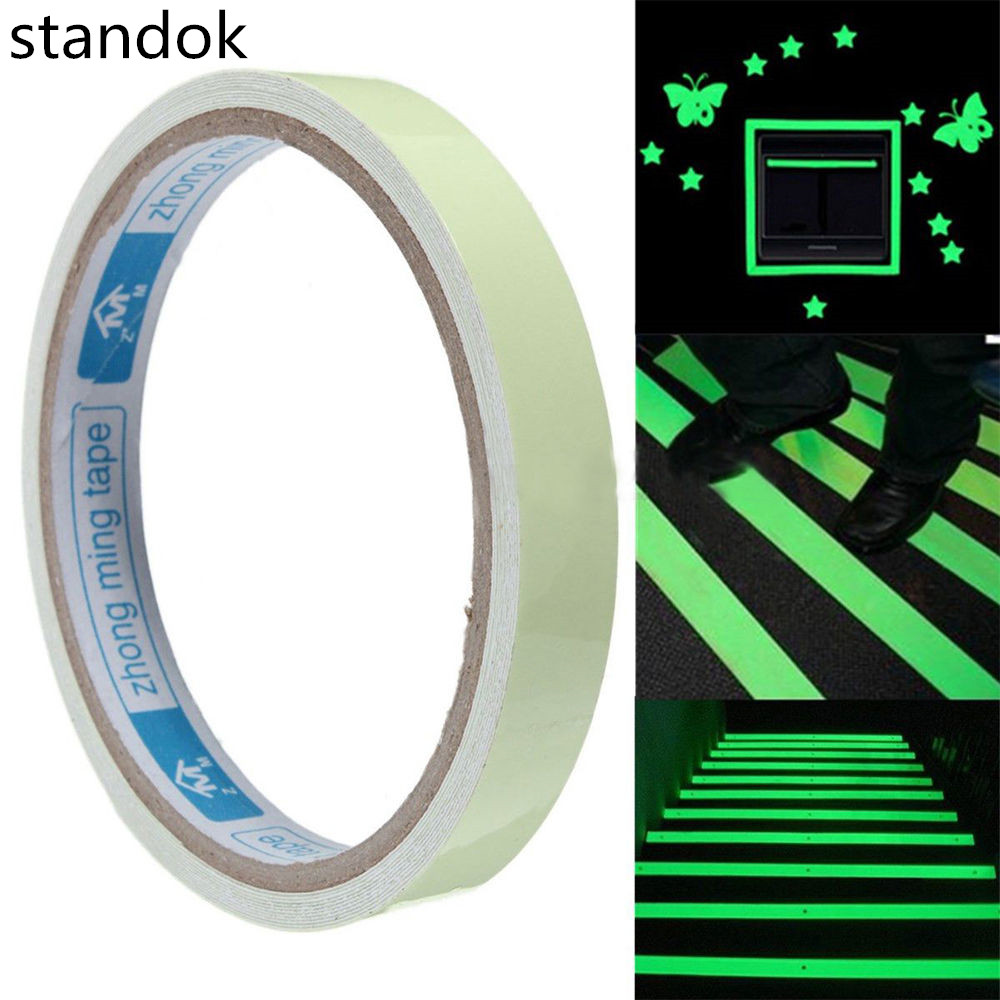 12mm Width Self-adhesive Luminous Tapes Strip Glow In The Dark Green Home Decor mymei 2016 new hot luminous movable skull skeleton halloween props party bars wall house decoration glow in the dark hanging decor
