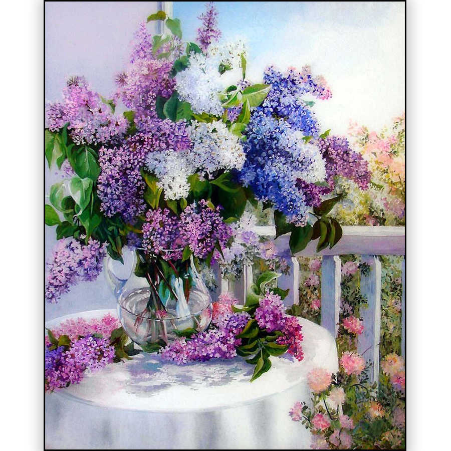 5D Diy Diamond Painting Purple Lavender Flower Vase Picture Crystal Mosaic Full Square Drill Diamond Embroidery Cross Stitch Kit