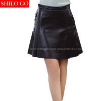 SHILO GO New Fashion Street Women's Empire Side Button A Line pleated Sheepskin Genuine Leather Skirt Ladies Formal OL Skirt