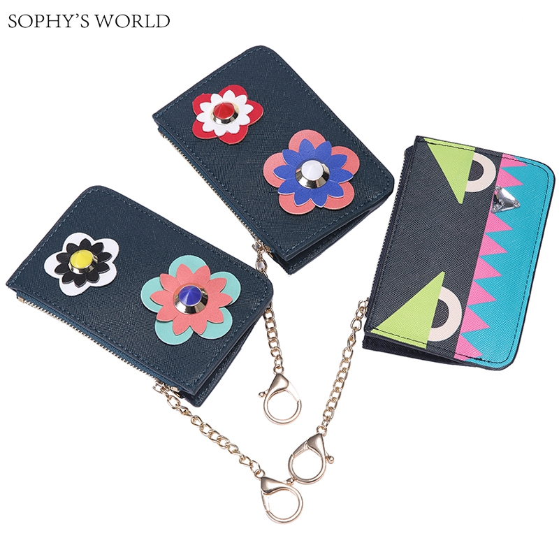 Rivet Flower Genuine Leather Womens Purse Keychain Ring Coin Purse Cute Monster Bag Small Wallet Pocket Credit Card Case