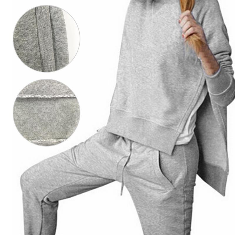 New Autumn Tracksuit Long Sleeve Slit Solid Sweatshirts Casual Suit Women Clothing 2 Piece Set Tops+Pants Sporting Suit Female