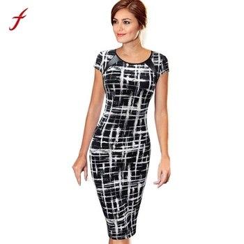 2018 Arrival Elegant Summer Casual Business Dresses Women Bandage Bodycon Short Sleeve Sexy  Mini Dress Saias Femininas short dresses office wear