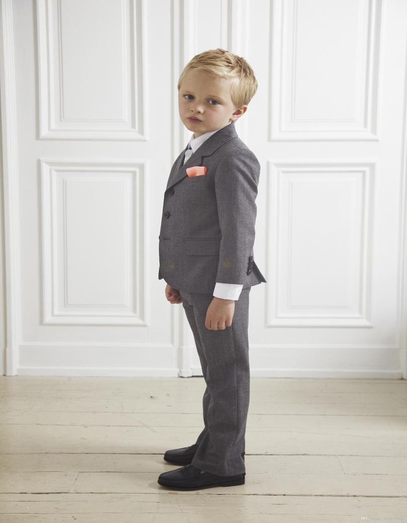 Online Shop Custom Design Gray Boy Wedding Suit Boys\' Formal ...