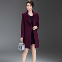 Fashion OL Button Winter Women Woolen Coat Plus Size Bodycon Long Ladies Outerwear Elegant Coats 2017