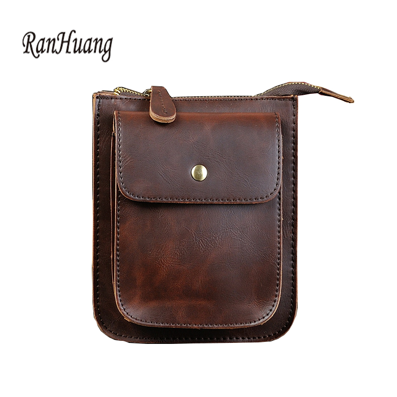 RanHuang New 2017 Men Vintage Shoulder Bags High Quality Crazy Horse Leather Bag Mens Small Crossbody Bag Black and Brown Color