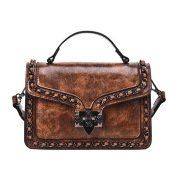 Ruique Women Vintage Style PU Leather Shoulder Bag Ladies Square Shaped Fashion Handbag Girls Trendy Casual Crossbody Bags