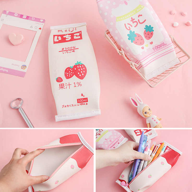 1Pc Cute Strawberry Pencil Case Kawaii Milk Pencil Bag High Capacity Pencil Box For Kids Girls Pencilcase School Office Supplies