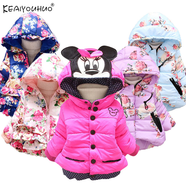 KEAIYOUHUO Winter Baby Girl Infant Outerwear Cotton Cartoon