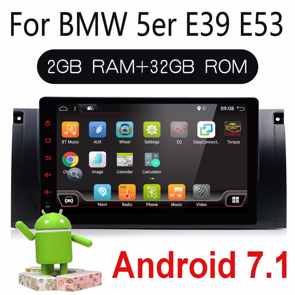 Bosion 9 автомобильный радиоприемник gps навигация Авторадио Android 7,1 4 ядра 2G Оперативная память Aux для BMW E39 E53 X5 M5 E38 радио elm327 sopported
