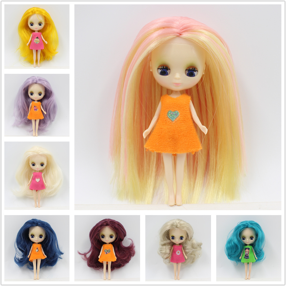 blyth mini doll 10CM nude doll colorful long hair Pullip цена