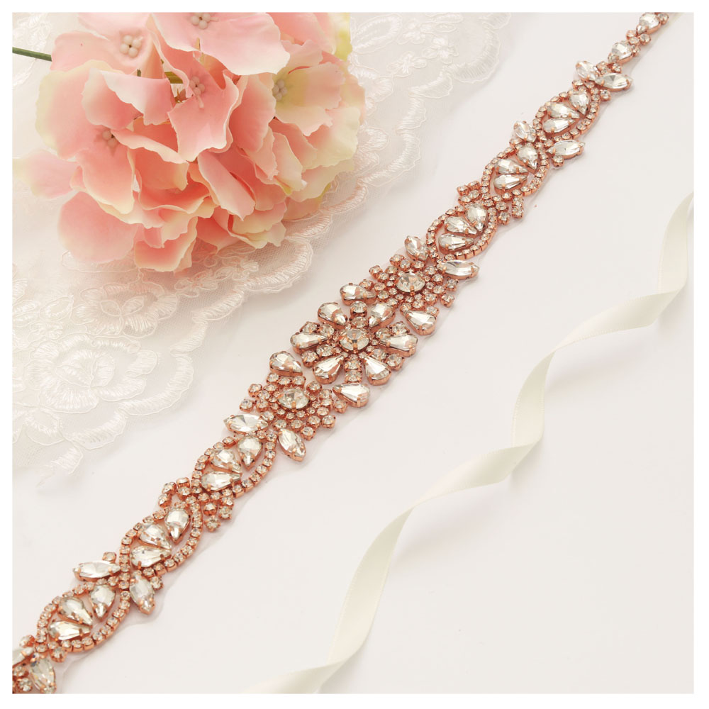Flower Belts For Wedding Dresses: MissRDress Rose Gold Crystal Wedding Sash Belt Long