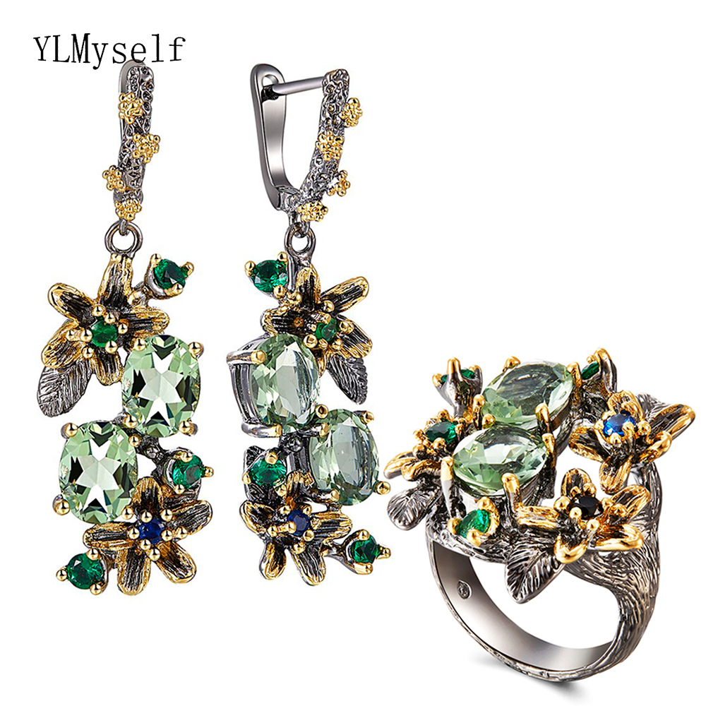Beautiful Olivine Crystal Earrings Ring Jewellery Set Flower Earrings Multi Zircon Black Metal 2pcs Jewelry Sets for Mom gifts(China)