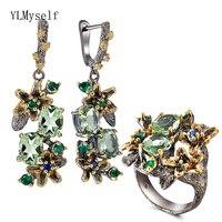 Beautiful Olivine Crystal Earrings Ring Jewellery Set Flower Earrings Multi Zircon Black Metal 2pcs Jewelry Sets for Mom gifts