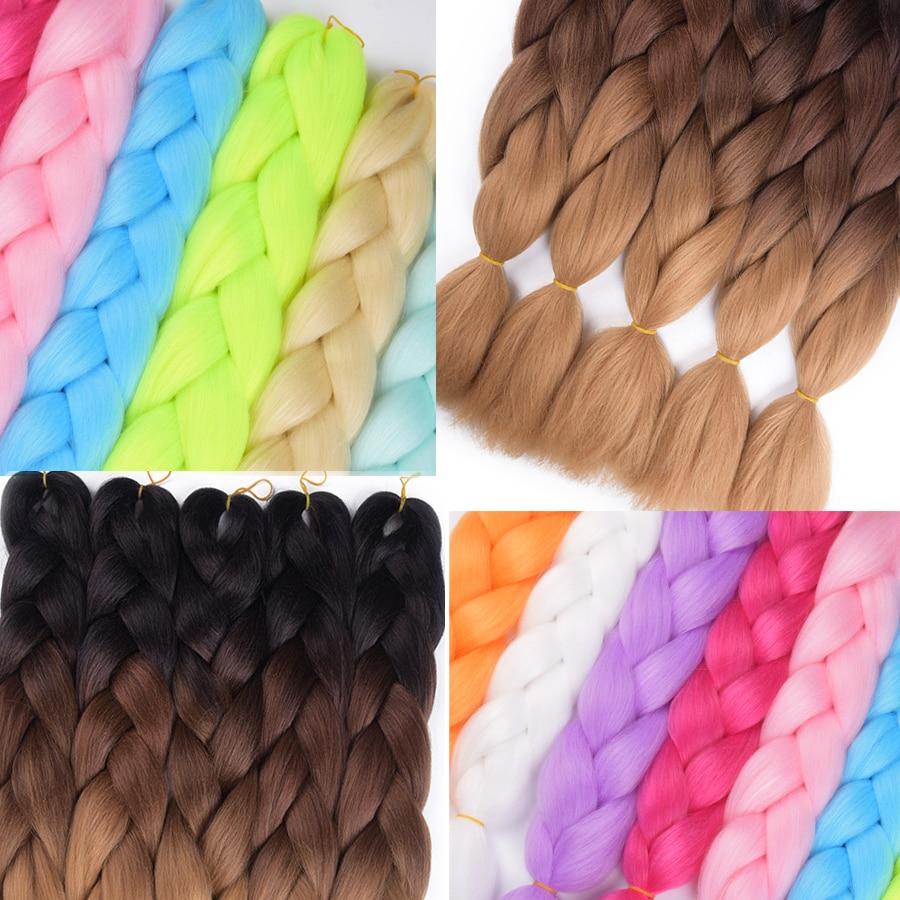 AliRobam Ombre Kanekalon Jumbo Braids Hairstyles Hair For Russian Women Big Box Braids Colors Synthetic Braiding Hair 24 100g