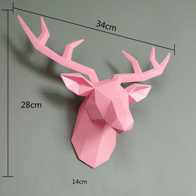 Home Statue Decoration Accessories 34x28x14cm Vintage Antelope Head Abstract Sculpture Room Wall Decor Resin Deer Head Statues 5