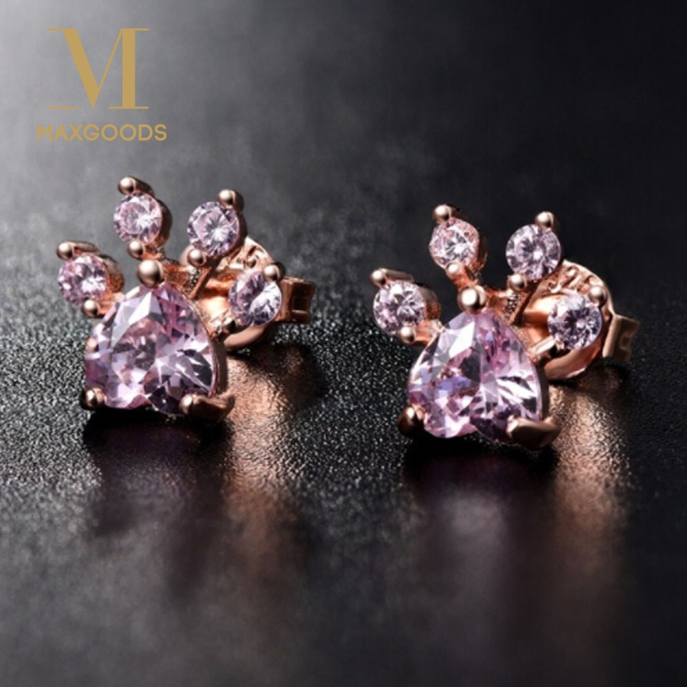 Shiny Pink Stud Earrings CZ Bear Jewelry Dog Paw Print Earring Female Piercing Rose Gold Small Animal Earrings for Women Jewelry earrings