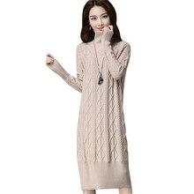 707d11ee84009 2018 kadın uzun balıkçı yaka kazaklar kazak elbise sıcak kalın örme kazak  elbise kış kadın uzun kollu büküm triko