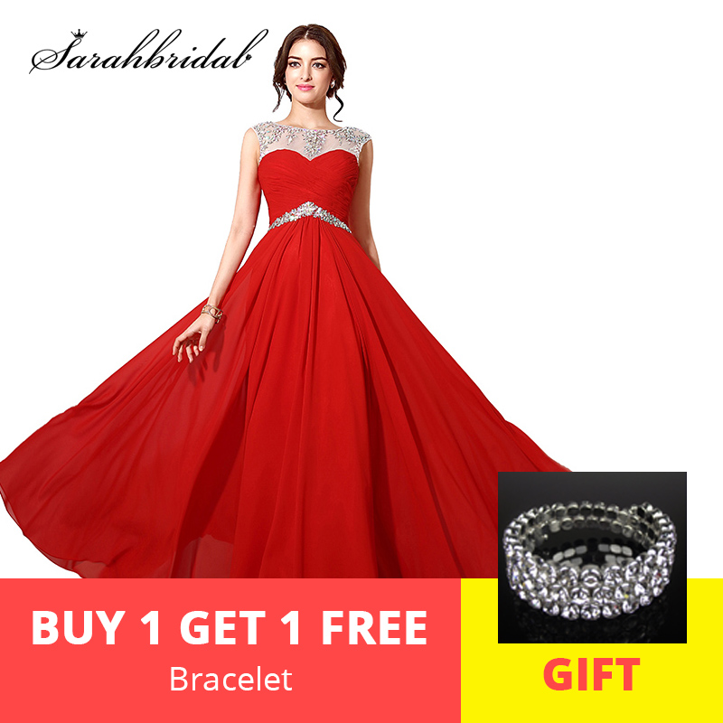 Red Long   Prom     Dresses   Chiffon Luxury Crystal Sheer Neck A-Line Beaded Empire Long Pleats   Prom   Gowns Backless Floor Length SD196