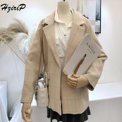 HziriP Винтаж Мода 2018 Для женщин Пиджаки и жакеты осень плед одной кнопки Тонкий Office нежный верхняя одежда Блейзер 2 цвета