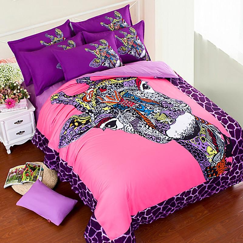 Music Memorabilia Entertainment Memorabilia High Quality 3d Giraffe Bedding Sets Pink Kids Duvet Cover Bedsheet Pillowcase 4pcs /3pcs Queen King Size 100% Cotton Bedlinen Making Things Convenient For Customers