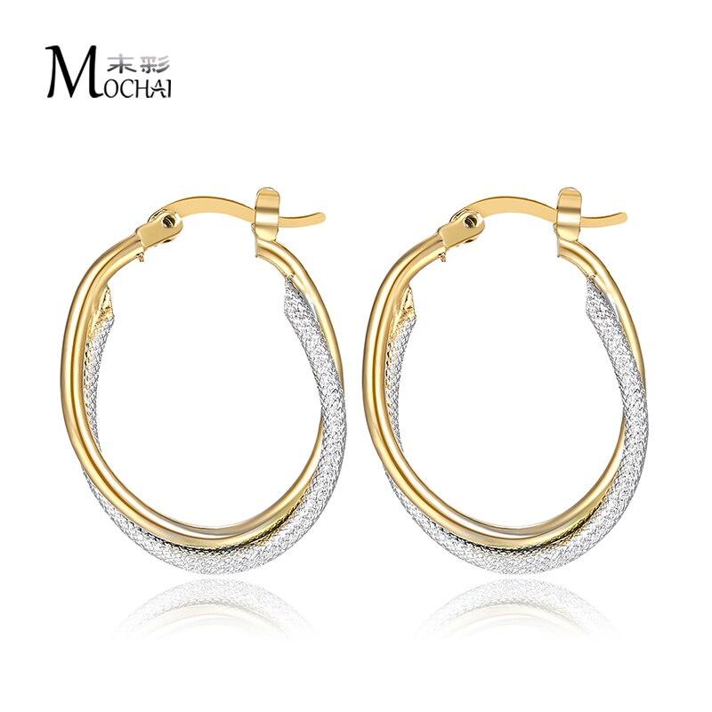 Oval Ohrringe Mischen Gold Farbe Modeschmuck Zwei Ton Hoop Ohrringe Für Frauen Partei Schmuck Geschenk Großhandel Trendy 2017 Zk20 20mm Schmuck & Zubehör