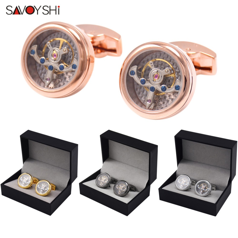 SAVOYSHI Tourbillon Cufflinks for Mens French Shirt Cuff bottons Functional Mechanical Watch Cuff links Brand Men Jewelry Gift цены онлайн