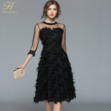 H Han Queen 2018 summer women sexy mesh black hollow out dresses tassel feather