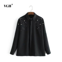 VGH Spain Single 2017 Autumn And Winter New Product Fashion Joker Pearl Enlarge Code Shirt A4697