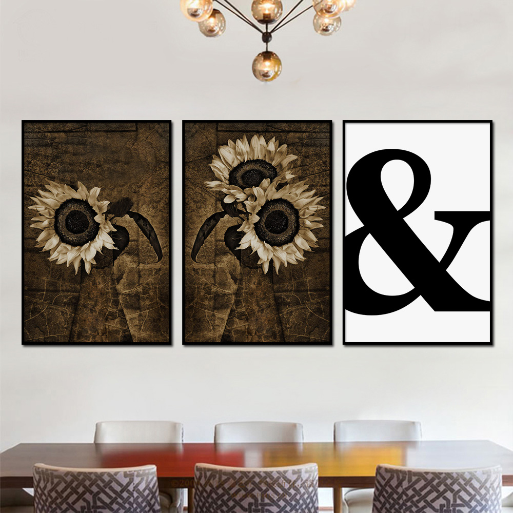 Retro Sunflower Poster Vintage & Quotes Wall Art Canvas Painting Nordic Posters And Prints Pictures For Living Room Decor