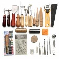 Adeeing 37 pcs/set DIY Leather Craft Tools Punch Kit Set Handmade Sewing Kit Set for Home Kids Supplies