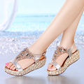2016 New Summer Slope Sandals Female Summer With Water Table Loose Cake Women Sandals Rhinestone Waterproof Lace High Heel