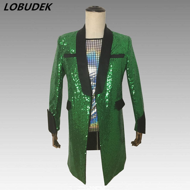 ffec53ca23 Shining Green Sequins Long Coat Slim Blazers Men Singer Stage Clothing Bar  DJ Male Personalized Costume Prom Show Host Outerwear