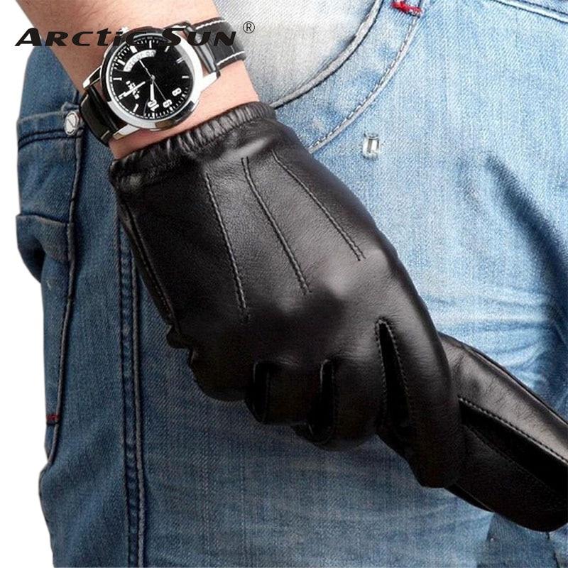 M017PQ men winter Genuine leather gloves fashion sheepskin driving wrist warm