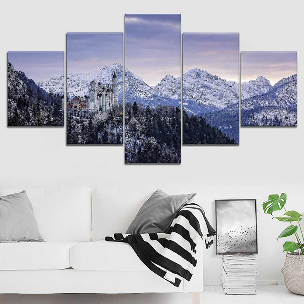 Neuschwanstein Castle Bavaria Germany Painting Modern Canvas Print Type 5 Panel Modular Style Picture Home Decorative Wall Art