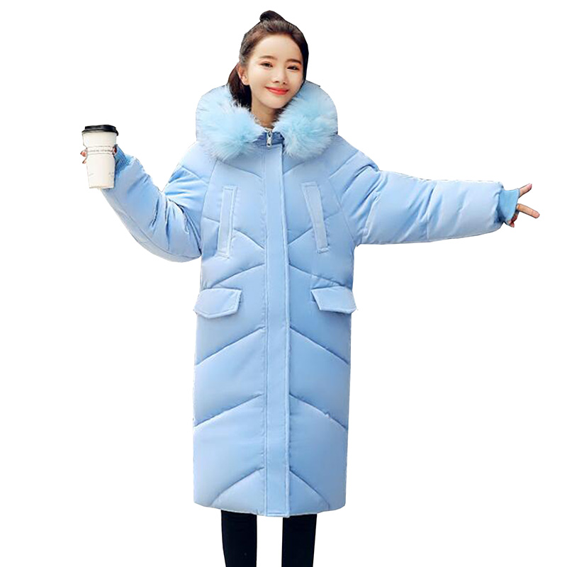 2018 Women   Parkas   for winter Thicken Warm Gold velvet Loose Jacket Coats Fur Collar Hooded Plus size Down Cotton Jackets