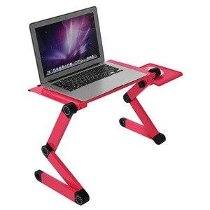 Image 1 - Taşınabilir katlanabilir ayarlanabilir Laptop için katlanır masa masaüstü bilgisayar mesa para dizüstü standı Tepsi çekyat Siyah veya Kırmızı