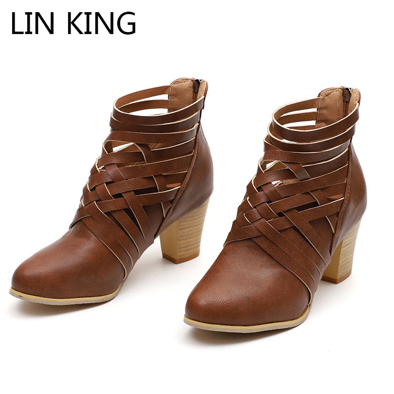 LIN KING Plus Size Women Short Boots Vintage Hollow Out Ankle Shoes Ladies Zipper Martin Boots Female High Heel Round Toe Botas
