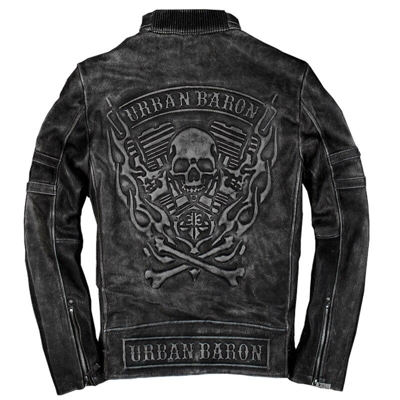 2018 Vintage Black Mens Skull biker Leather Jacket Plus Size XXXL Genuine Cowhide Slim Fit Motorcyclist Jacket FREE SHIPPING