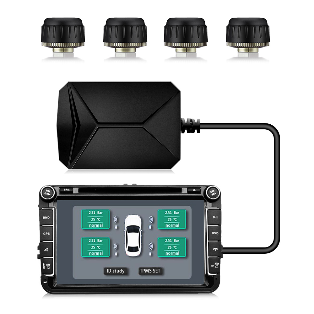 USB Android TPMS Auto Reifendruck Monitor mit 4 Externe Sensoren 116 psi Überwachung Alarm System 5 V Drahtlose Übertragung TPMS