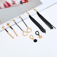 Bohopan 5PCS/Set Black Long Chain Tassel Earrings Hollow Round Statement For Women Punk Style Ear Jewelry Accessories