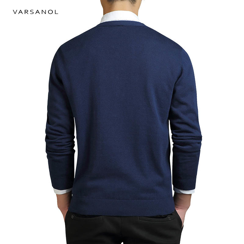 Varsanol Cotton Sweater Men Long Sleeve Cardigan Mens V-Neck Sweaters Loose Solid Button Fit Knitting Casual Style Clothing New 2