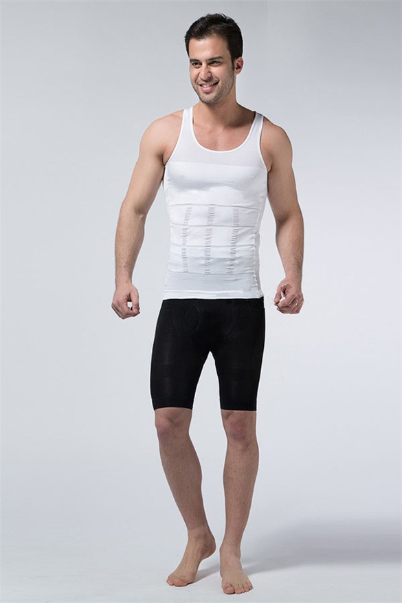 Hot sales Men Shaper Vest Body Slimming Tummy Belly Waist Girdle Shirt Shapewear Underwear 8