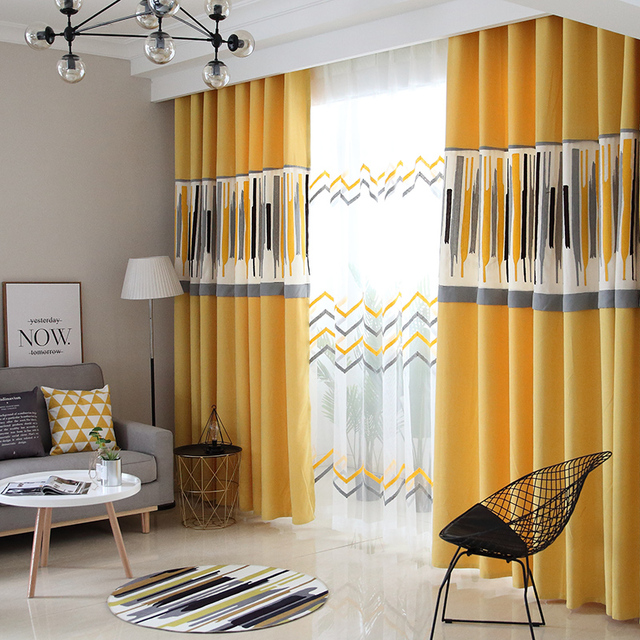 yellow grey living room curtains small loveseats for customzied nordic european cotton linen curtain modern splicing geometric pattern blinds