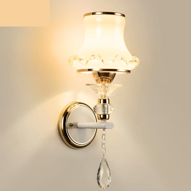 Hallway 1-2 Head Indoor Glass Wall Lamps With Glass Cover shade Aisle Modern Wall Mounted E27 Led Sconce Wandlamp mirror light rustic crystal wall lamp fixture with fabric shade for bathroom aisle bedside light e14 1 2 light led indoor wall lamps crystal