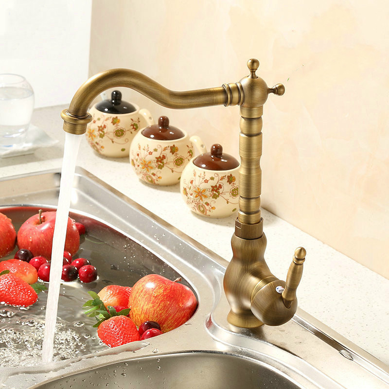 ФОТО Antique Brass Bathroom Faucet / Kitchen Faucets 360 Rotate Bathroom Gold Basin Sink Faucet Mixer Tap
