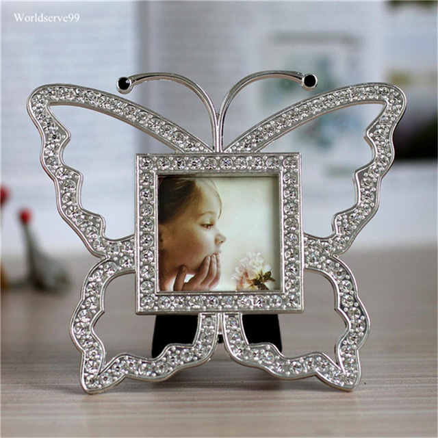2inch Butterfly Rhinestone Kids Photo Picture Frames Crystal Metal