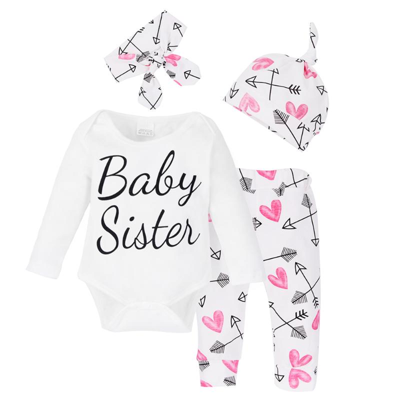 4Pcs Baby Girls Spring Autumn Clothes Set Infant Casual Letters Printed Long Sleeve Romper Top + Pants + Cap + Headband Outfits