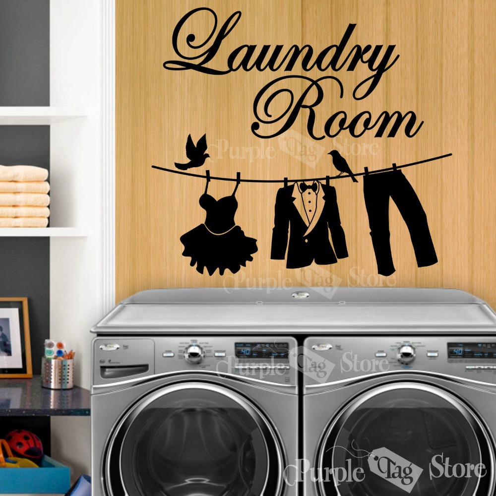 New 2016 laundry vinyl wall decal laundry room clothesline for Laundry home