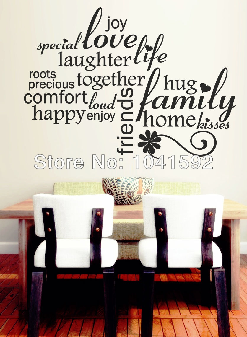 Mordens love words vinyl wall phrase stickers home decor for Decoration word