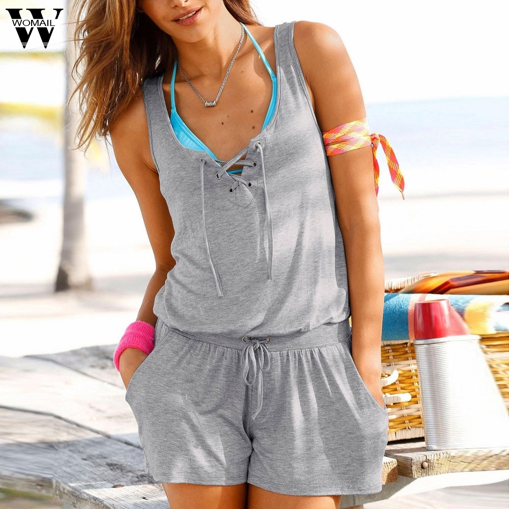 Womail Bodysuit Women Summer Sleeveless Bandage Jumpsuits Vest Top Casual Playsuit Short Beach New Fashion 2019 Dropship M23